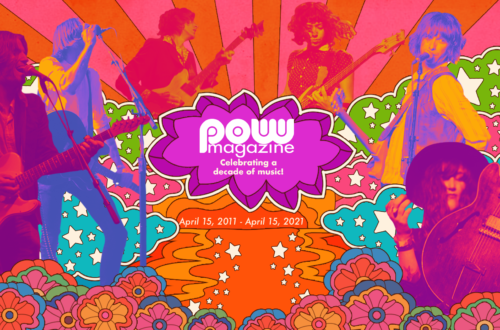 """Pow Magazine April 15, 2011 - 2021 powmagazine.org """"Celebrating a decade of music!"""" 10th anniversary banner designed by Camilla Wyness. https://splatdesignbycamilla.com Musicians L-R: Peter Maffei from The Electric Magpie // Photo: Phoebe Lula Photo Peter Danzig from Down And Outlaws // Photo: Kristin Groener Joshua A F Cook // Photo: Ellie Doyen Bianca Ayala from The Tissues // Photo: Grace Dunn Shea Roberts from The Richmond Sluts // Photo: Ernesto Perez Becca Davidson from SPINDRIFT // Photo: Naomi Cherie Bessette"""